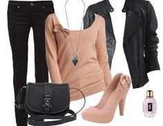 Lässiges Outfit mit Lederjacke und Schleifenpulli ♥ Hier kaufen: http://stylefru.it/s56437 #nude