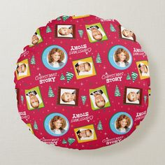 A Christmas Story | Family Photos Pattern Round Pillow - tap/click to personalize and buy #RoundPillow #a #christmas #story, #classic #movie, Photo Pattern, Round Pillow, A Christmas Story, Accent Pillows, Family Photos, Movie, Classic, Family Pictures, Derby