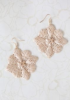 """Floral Fling Earrings In Cream 12.99 at shopruche.com. These floral filigree earrings are perfected in a matte cream hue with gold colored hardware.2.25"""" diameter"""