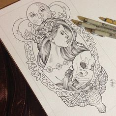 No owl at the bottom, instead roses. I'd change the girl to be more fierce instead of graceful and I would change the scull to a goat scull! Love the moon at the top