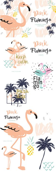 Cute flamingo vector graphics - includes flamingo, palm tree and pineapple vectors