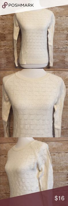 """🎅🏻3/$20 Ann Taylor Loft Ivory Wool Blend Sweater This is a beautiful wool/cotton blend sweater that is new without tags. It has a rounded collar, long sleeves, open weave knitting, with ribbed cuffs and hem.  Fabric: 38% Rayon, 28% Wool, 18% Nylon, 16% Cotton  Brand:  Ann Taylor Loft Color:  Ivory Measurements  Bust (from armpit to armpit):  17"""" Length:  22"""" Sleeve Length:  24"""" LOFT Sweaters Crew & Scoop Necks"""