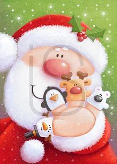 74113 Christmas Canvas, Christmas Paper, Christmas Time, Vintage Christmas, Christmas Crafts, Merry Christmas, Christmas Decorations, Xmas, Santa Paintings