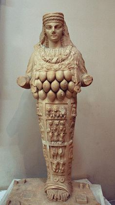"""Artemis statue from the Amphitheater of  Lepcis Magna, now in the Archaeological Museum of Tripoli. Anatolian-Greek mythological image from an ancient mother nature. Contrasting it with the current vision on nature, it may invite thoughts like Hegel's description of """"the True"""" as """"the Bacchanalian revel in which no member is not drunk"""". Not to say that we are sober today. Are we missing something like a caring Artemis in our competitive vision on nature?"""