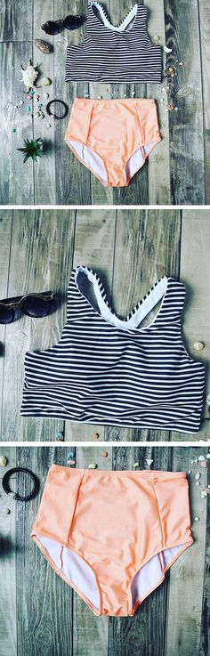 Enjoy the beach with this striped bikini.  This color is good for all skin tones! You can't go wrong with the bikini set! Shop more amazing items at SheIn.com Only need $16.43,Enjoy Free Shipping