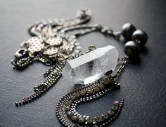 Long Quartz Crystal Point Necklace with Silver and by BevaStyles Quartz Jewelry, Vintage Silver, Quartz Crystal, Bracelet Watch, Jewellery, Chain, Crystals, Pendant, Bracelets