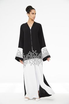 Arabesque signature classic cut abaya embellished with graphic hand embroidery in combination with light crepe satin. Abaya Fashion, Muslim Fashion, Modest Fashion, Fashion Dresses, Mode Abaya, Mode Hijab, Casual Chic Outfits, Model Baju Hijab, Arabic Dress