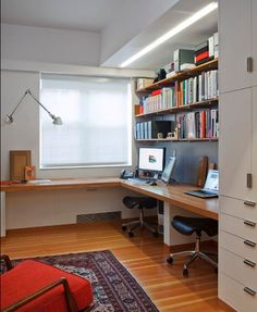 Home Office Design: Maintenance Tips: Comfortable Modern Home Office With Wooden L Shaped Wall Desk