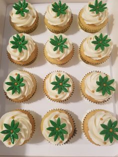 French Vanilla Cupcakes w/Emerald Green Flowers