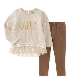 Love this White 'Juicy' Ruffle-Hem Top & Leggings - Infant, Toddler & Girls on #zulily! #zulilyfinds