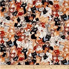 Kanvas Kitty Galore Kitty Collage Neutral