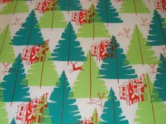 VTG CHRISTMAS WRAPPING PAPER GIFT WRAP 1950 RED REINDEER CHURCH ATOMIC AGE