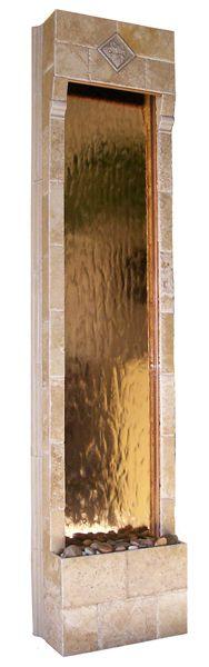 Tuscan Vineyard copper mirror travertine water wall fountain.