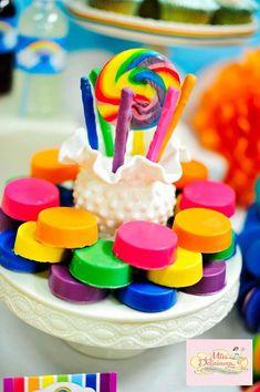 Girly Rainbow 5th Birthday Party with Lots of CUTE IDEAS via Kara's Party Ideas | KarasPartyIdeas.com #ColorfulParty #Rainbow #PartyIdeas