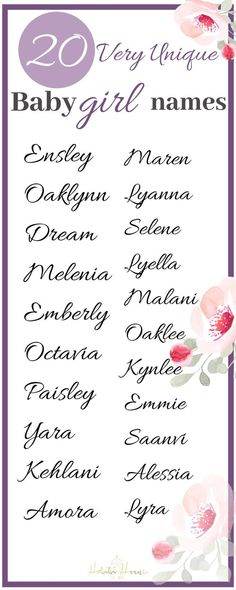 Are you looking for a rare and unique baby girl name? We have a list 25 very unique baby girl names that will amaze you! names unique boy names unique creative names unique girl names unique southern names unique uncommon names unique vintage Baby Girl Names List, List Of Girls Names, Baby Girl Names Unique, Unusual Baby Names, Cute Baby Names, Unique Names, Names Girl, Italian Names For Girls, Names For Babies