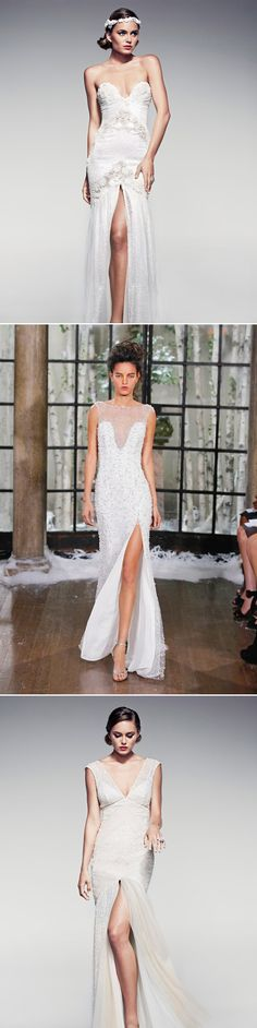 Trending for 2016 - Vintage Glitter Sequined High Slit Wedding Gowns   Designers (from the top): Pallas Couture / Ines Di Santo / Pallas Couture - See more at: http://www.deerpearlflowers.com/wedding-dresses-2016-trends-high-slit-bridal-gowns/#sthash.wLgDI1T4.dpuf