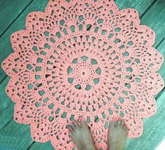 Orange Cotton Crochet Doily Rug in Circle Lacy Pattern Non Skid- etsy Crochet Doily Rug, Crochet Doily Patterns, Crochet Round, Cotton Crochet, Crochet Ideas, Crochet Decoration, Gris Rose, Pineapple Pattern, Rugs On Carpet