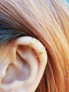 Two Criss Cross Ear Cuffs Cartilage Ear Cuff Set No Pierce Ear