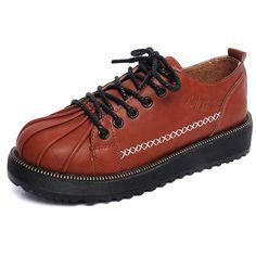 NOVA Primavera 2016 das Mulheres Sapatos de Plataforma Plana Mulher Moda Flats Casual Lace-Up Oxfords Sapatos Para Mulheres Trepadeiras