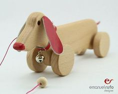 Wooden Toy Wooden pull toy CROC eco friendly hand by emanuelrufo