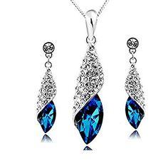Sapphire Blue Long Teardrop Swarovski Element Set Austria Crystal Fashion Earrings Pendant Necklace FREE Organza Pouch Bag
