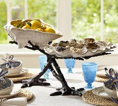 Coral Serve Bowl Stand #potterybarn.  It's HUGE in the store.  But I love it!