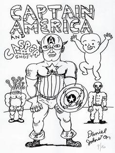 daniel johnston Superhero Sketches, Daniel Johnston, Visionary Art, Outsider Art, Captain America, Tatting, Street Art, Comics, Abstract