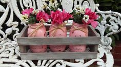 Shabby Chic Rustic Painted & Distressed 3 Mason by RepurposedbyM, $42.00