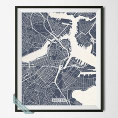Boston Map Massachusetts Poster Boston Print by VocaPrints on Etsy