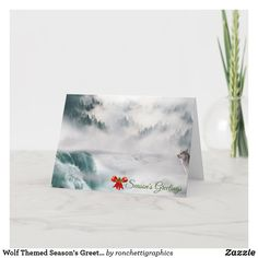Wolf Themed Season's Greetings Holiday Cards Business Christmas Cards, Holiday Greeting Cards, Custom Greeting Cards, Personalised Christmas Cards, Small Plants, Plant Design, Zazzle Invitations, Yellow Flowers, Thoughtful Gifts