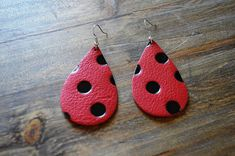 Hey, I found this really awesome Etsy listing at https://www.etsy.com/listing/583359433/leather-earrings-red-and-black-polka-dot
