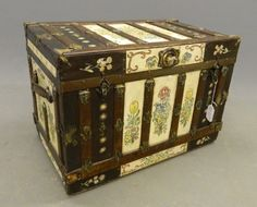 Early painted steamer trunk.
