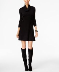 Inc International Concepts Cowl-Neck Sweater Dress, Only at Macy's - Black L