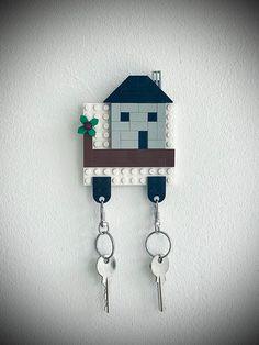 Lego Key Holders, Wall Key Holder, Diy Key Holder, Diy Home Supplies, Lego Wall, Lego Gifts, Lego Craft, Unique House Design, Lego Room