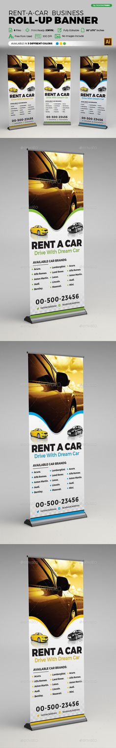 Rent A Car #Roll-up Banner - #Signage Print Templates Download here: https://graphicriver.net/item/rent-a-car-rollup-banner/19700373?ref=alena994