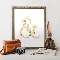 Floral Ampersand Art Print Wall Art printable nursery decor typography flowers wedding decor, modern, pink flower decor, 8x10 PDF by HewittAvenue on Etsy