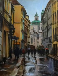 "Original art for sale at UGallery.com | A Street in Prague by Jonelle Summerfield | $1,100 | oil painting | 28"" h x 22"" w 