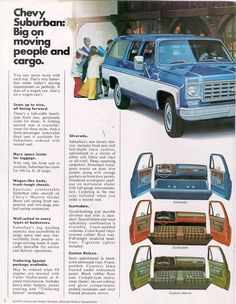 1975 Chevy Suburban interior Advertising Signs, Vintage Advertisements, Vintage Ads, Gm Trucks, Pickup Trucks, Station Wagon, Old Wagons, Small Cars, Small Trucks