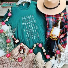 Dasher Prancer Blitzen Tee – Ruby Rue Jewelry & Accessories Tequila, Black And White Flannel, Country Girls, Tees, Reindeer, Jewelry Accessories, Santa, Unisex, Fit