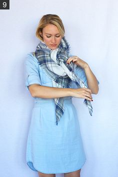 My 9 Favorite (Super Easy) Ways to Tie a Scarf - Style by Joules Blanket Scarf Outfit, How To Wear A Blanket Scarf, Ways To Wear A Scarf, Diy Scarf, Scarf Dress, How To Wear Scarves, Boho Outfits, Fall Outfits, Cute Outfits