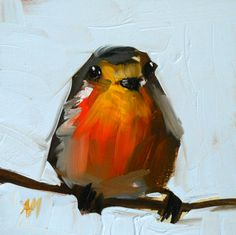 little robin on branch open edition print 5 x 5 inch by angela moulton via Etsy