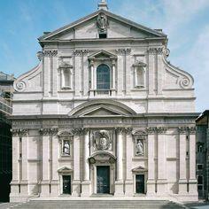 Il Gesu homlokzata, Giacomo della Porta. A jezsuita templom majdnem az összes barokk katolikus templom prototípusa lett.