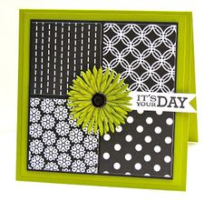 handmade greeting card by Pretty Periwinkles ... square ... four panels of black and white patterned papers ... acid green base card and muli-layered flower ... luv the look! ... Paper Trey Ink ...