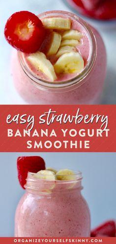 Strawberry Banana Yogurt Smoothie - Organize Yourself Skinny Strawberry Banana Yogurt Smoothie, Yogurt Smoothies, Easy Smoothies, Easy Healthy Smoothie Recipes, Healthy Breakfast Smoothies, Healthy Snacks, Healthy Eating, Healthy Drinks, Kid Friendly Smoothies