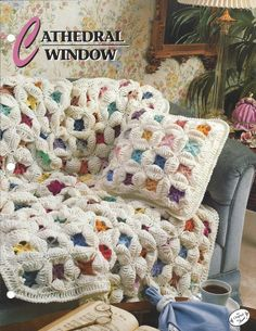 Cathedral Window - Annie's Crochet Quilt & Afghan - Pattern Crochet Flower Quilt Blanket Afghan Pillow Bedspread, Home Decor, Bedding, Throw Crochet Afghans, Grannies Crochet, Crochet Bedspread, Crochet Quilt, Afghan Crochet Patterns, Crochet Squares, Crochet Home, Crochet Motif, Crochet Flowers