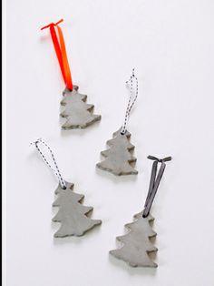 Concrete DIY Christmas tree ornaments.