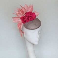 Ready to ship Dark Grey and Pink Fascinator Kentucky Derby Hat 766027880115