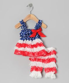 Take a look at this Red & White Fourth of July Lace Tunic & Pants - Infant by Diva Daze on #zulily today!