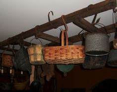 Another hanging ladder with baskets and kitchen items. Hanging Ladder, Ladder Decor, Country Crafts, Country Decor, Ceiling Storage, Primitive Crafts, Ladders, Kitchen Items, Primitives