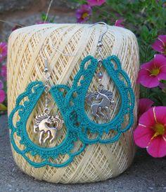 western paisley crocheted earrings with horse charm on etsy 2000